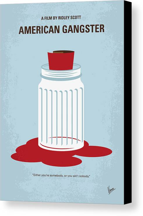 American Canvas Print featuring the digital art No748 My American Gangster Minimal Movie Poster by Chungkong Art