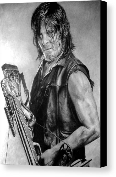 Daryl Dixon Norman Reedus The Walking Dead Pencil Portrait Black And White Fan Art Canvas Print featuring the drawing Norman Reedus by Stan Antonio