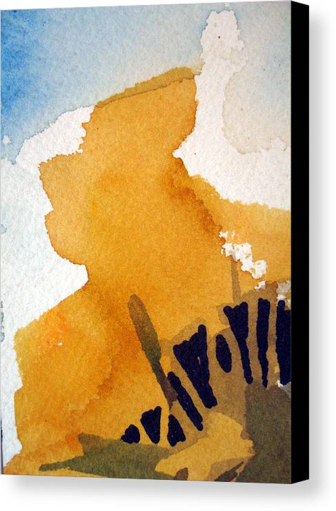 Aceo. Landscape Canvas Print featuring the painting October Gold by Bill Meeker