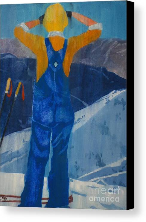Ski Canvas Print featuring the painting Oh Say Can You See by Elizabeth Carr