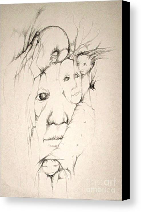 One Eye Canvas Print featuring the drawing One Man's Vision by Stephanie H Johnson