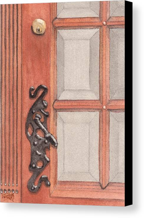 Handle Canvas Print featuring the painting Ornate Door Handle by Ken Powers