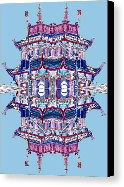 China Town Canvas Print featuring the photograph Pagoda Tower Becomes Chinese Lantern 2 Chinatown Chicago by Marianne Dow