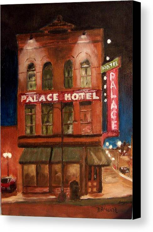 Cityscape Canvas Print featuring the painting Palace Hotel by Bill Brauker