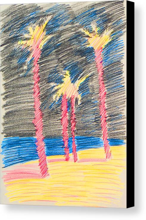 Beach Canvas Print featuring the drawing Palms At The Night by Vitali Komarov