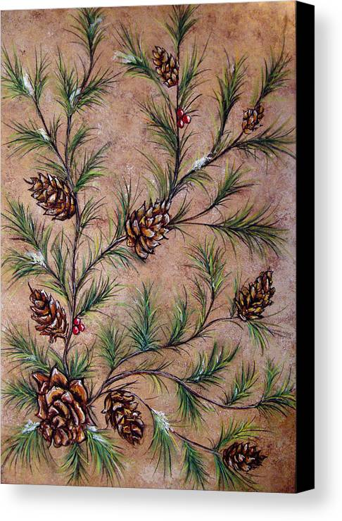 Acrylic Canvas Print featuring the painting Pine Cones And Spruce Branches by Nancy Mueller