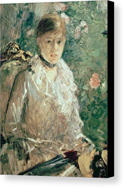 Portrait Canvas Print featuring the painting Portrait Of A Young Lady by Berthe Morisot