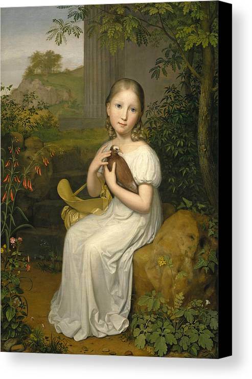 August Von Der Embde Canvas Print featuring the painting Portrait Of Countess Louise Bose As A Child by August von der Embde