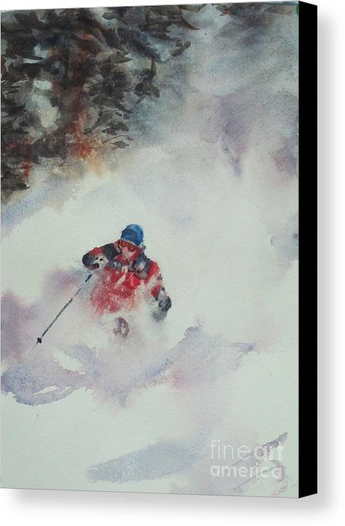 Skiing Canvas Print featuring the painting Powder by Elizabeth Carr