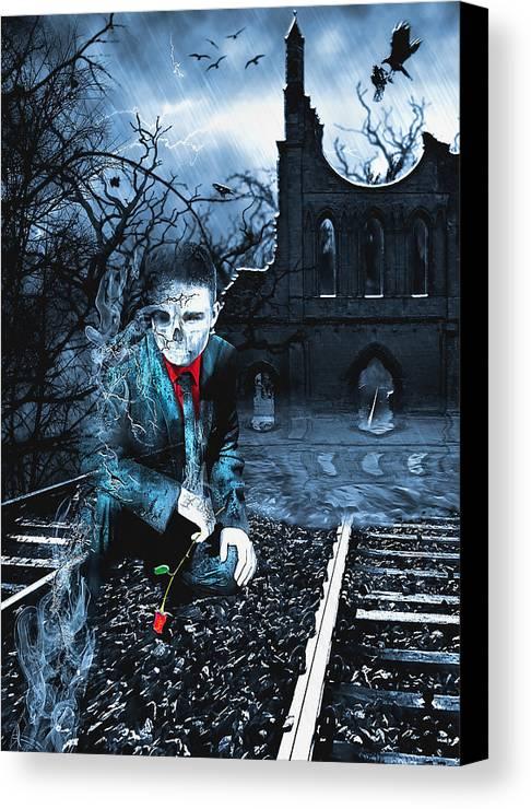 Rail Canvas Print featuring the digital art Promises by Svetlana Sewell