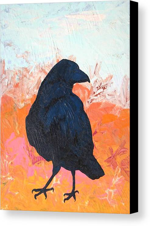 Raven Canvas Print featuring the painting Raven IIi by Dodd Holsapple