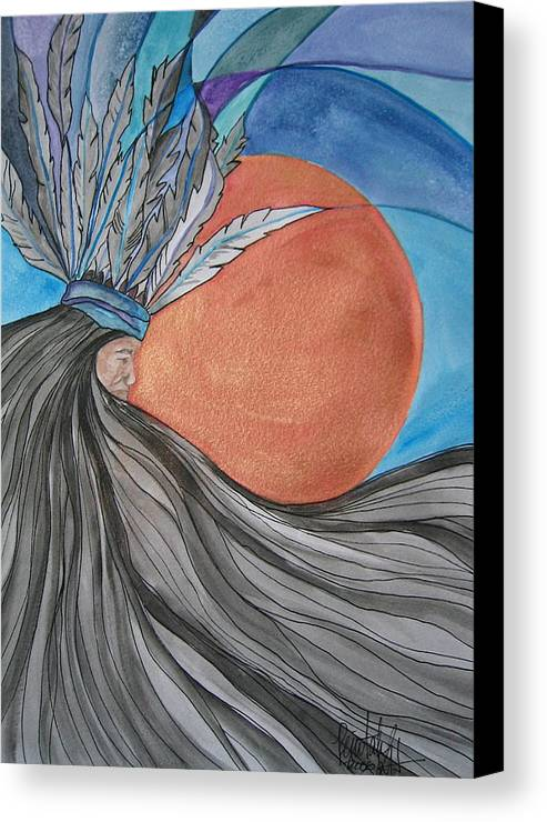 Original Art Canvas Print featuring the mixed media Raven's Hair by K Hoover