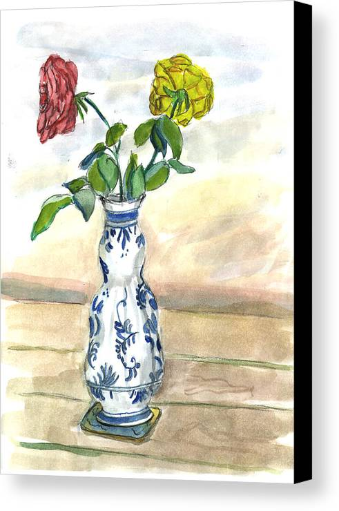 Kevin Callahan Canvas Print featuring the painting Red Rose Yellow Rose by Kevin Callahan