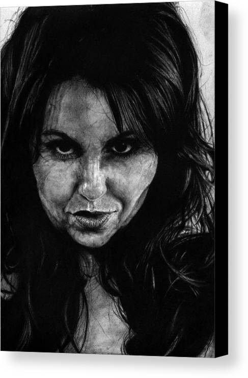 Portrait Girl Woman Sketch Drawing Charcoal Art Traditional Life Thought Smile Beautiful Expression Canvas Print featuring the drawing Reel Romance by Priscilla Vogelbacher