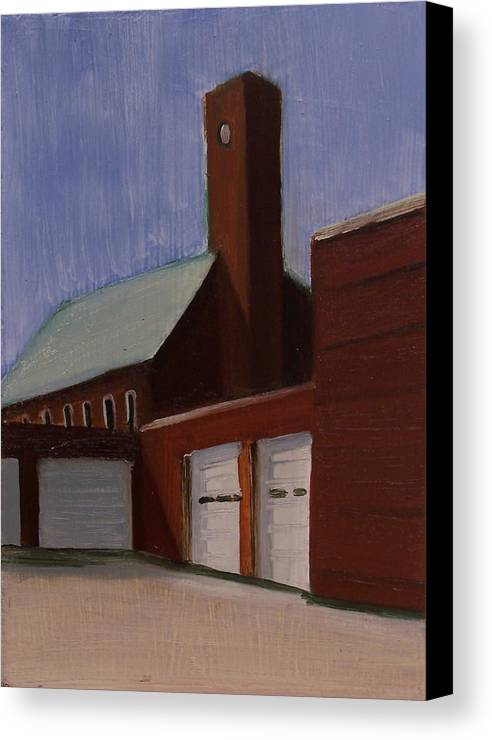 Suburbanscape Canvas Print featuring the painting Ridgefield Park Dpw by Ron Erickson