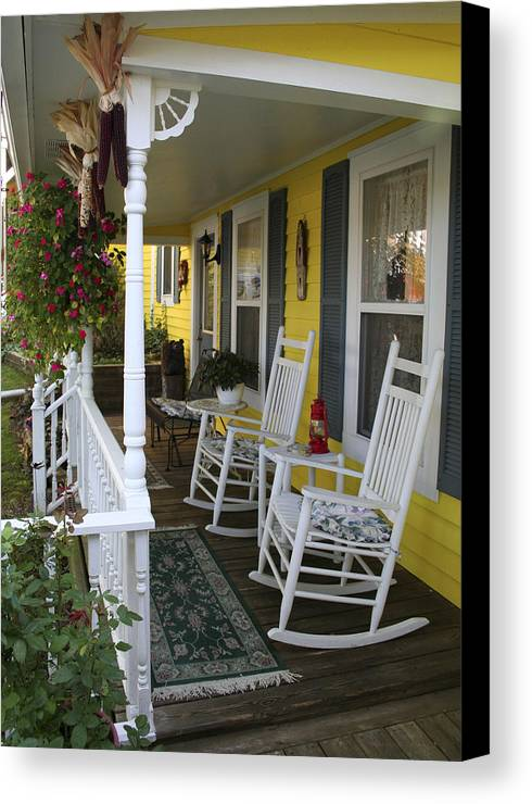 Rocking Chair Canvas Print featuring the photograph Rockers On The Porch by Margie Wildblood