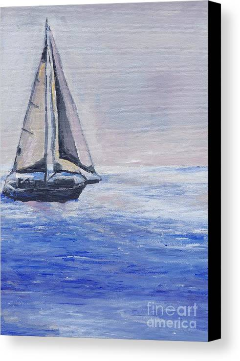 Sunset Canvas Print featuring the painting Sailing Off Cape May Point by Eric Schiabor