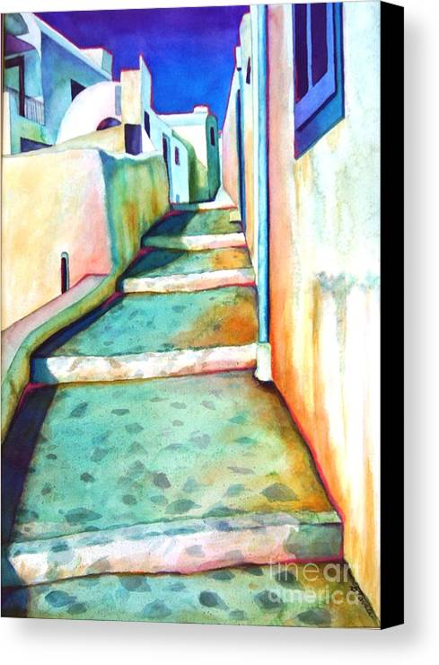 Santorini Canvas Print featuring the painting Santorini Steps by Gail Zavala