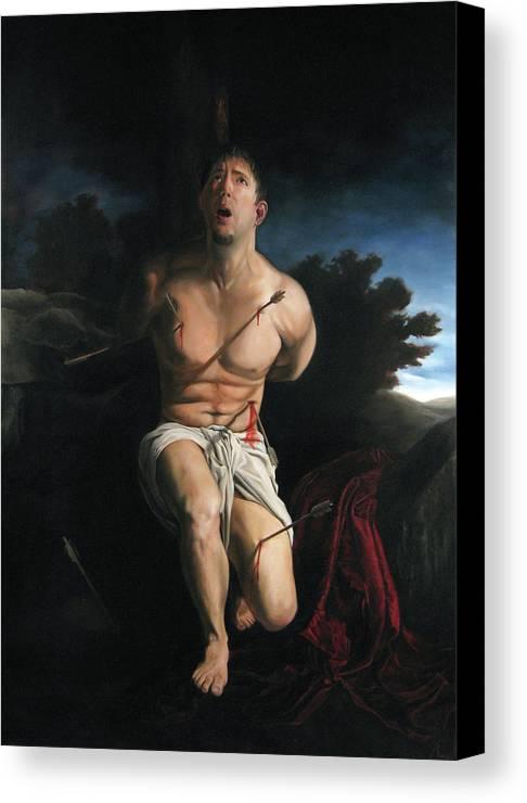 Saint Sebastain Canvas Print featuring the painting Self Portrait As St. Sebastian by Eric Armusik