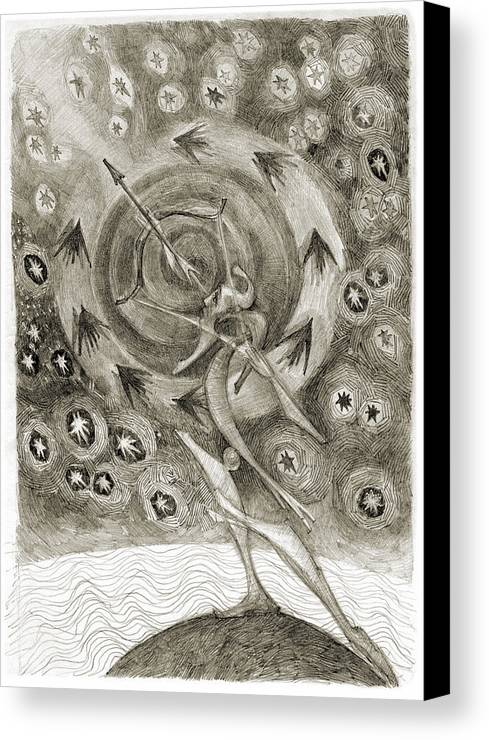 Archer Canvas Print featuring the drawing Shooting Stars by Juel Grant