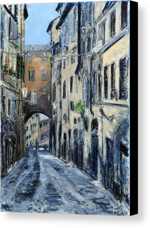 Cityscape Siena Italy Archway Street Houses Canvas Print featuring the painting Siena Porta by Joan De Bot