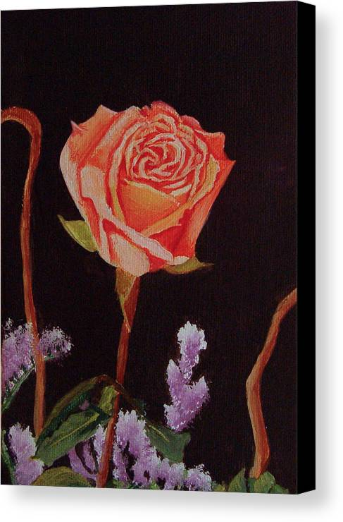 Rose Canvas Print featuring the painting Single Rose by Quwatha Valentine