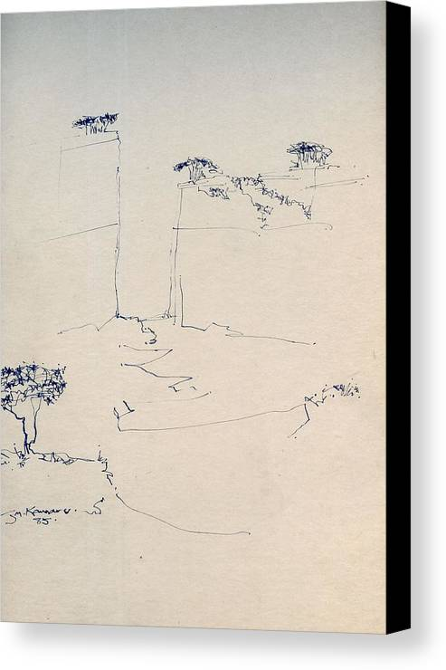 J Kamaru Canvas Print featuring the digital art Sketch 1 - Pen And Ink Australian Landscape by Joan Kamaru