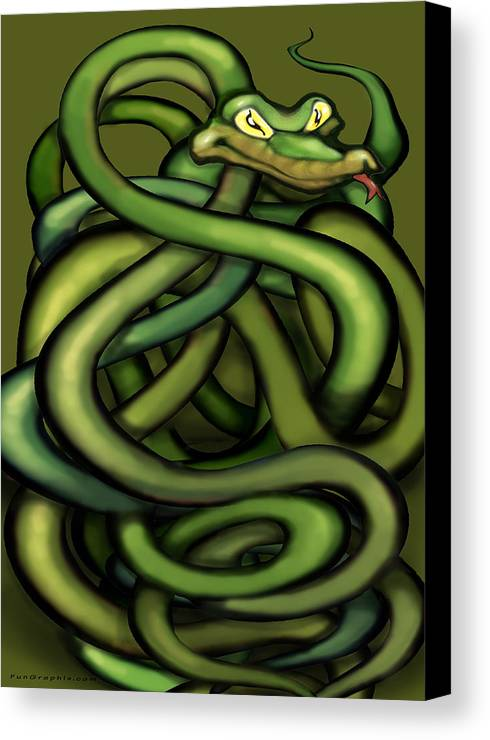 Snake Canvas Print featuring the painting Snakes by Kevin Middleton