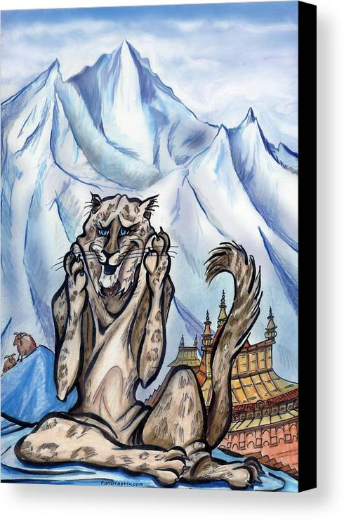 Ice Canvas Print featuring the painting Snow Leopard by Kevin Middleton