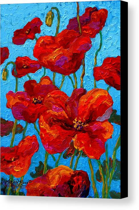 Poppies Canvas Print featuring the painting Spring Poppies by Marion Rose
