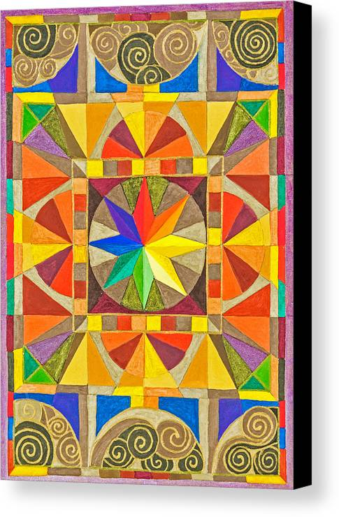 Rainbow Star Mandala In A Stained Glass Setting. Canvas Print featuring the painting Star Series Two by Sandy Thurlow