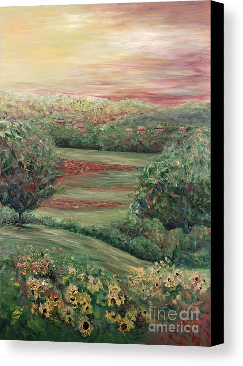 Landscape Canvas Print featuring the painting Summer In Tuscany by Nadine Rippelmeyer
