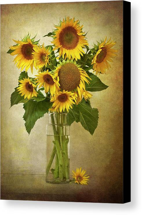 Vertical Canvas Print featuring the photograph Sunflowers In Vase by © Leslie Nicole Photographic Art