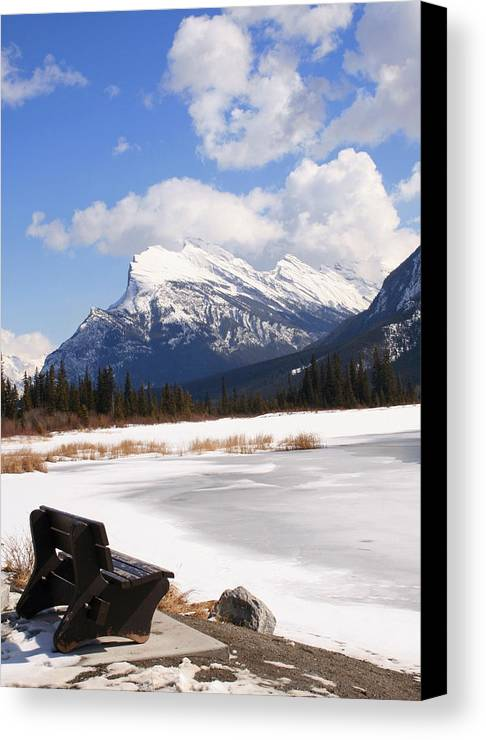Vermillion Lake Canvas Print featuring the photograph Take A Seat At Vermillion Lake by Tiffany Vest