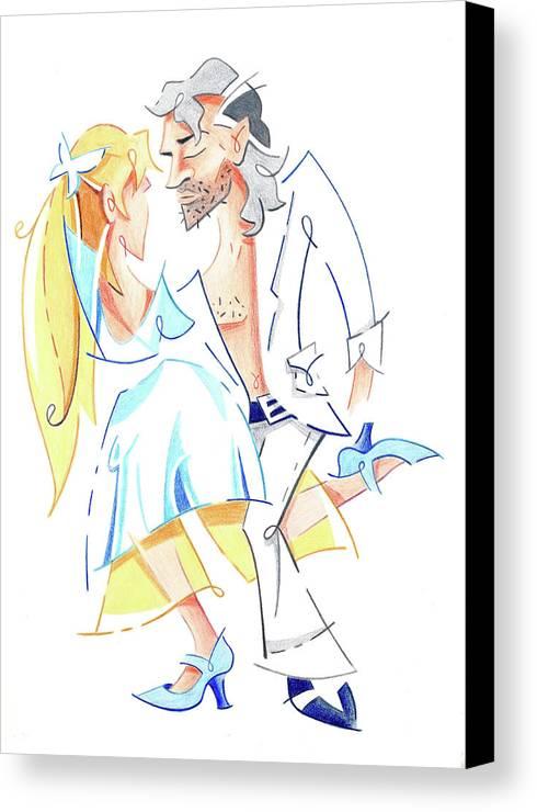 Tango Canvas Print featuring the drawing Tango Nuevo - Gancho Step - Dancing Illustration by Arte Venezia