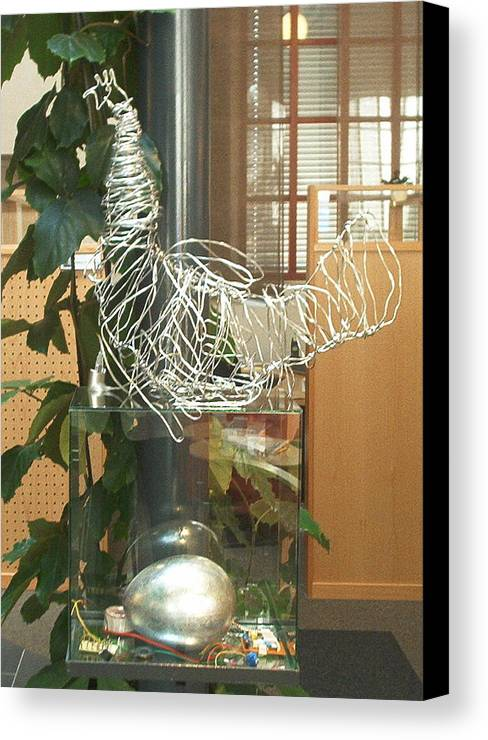 Canvas Print featuring the sculpture Techno Hen by Jarle Rosseland