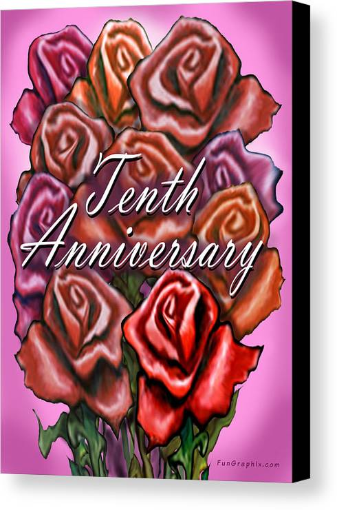 Tenth Canvas Print featuring the greeting card Tenth Anniversary by Kevin Middleton