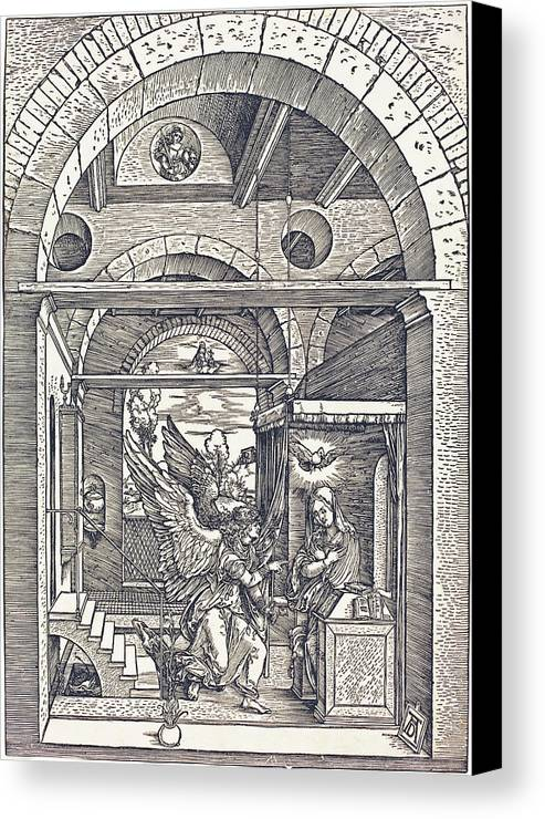 Durer Canvas Print featuring the drawing The Annunciation by Albrecht Durer