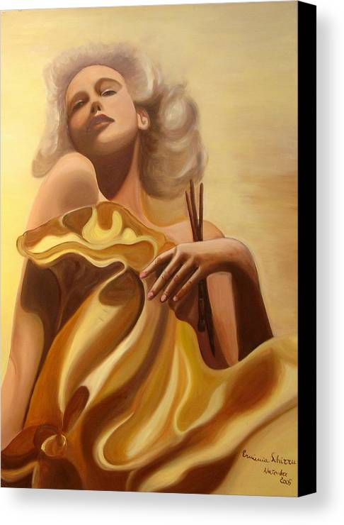 Figurative Canvas Print featuring the painting The Beauty And The Elegance by Erminia Schirru