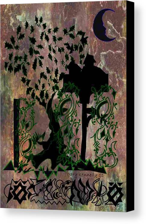 Tree Canvas Print featuring the digital art The Birdhouse by Gary Kennedy