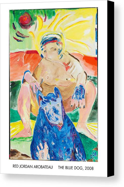 Spiritual Canvas Print featuring the painting The Blue Dog by Red Jordan Arobateau