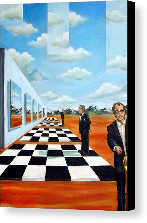 Surreal Canvas Print featuring the painting The Gallery by Valerie Vescovi