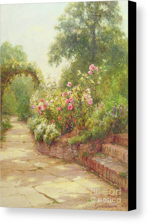 The Canvas Print featuring the painting The Garden Steps  by Ernest Walbourn