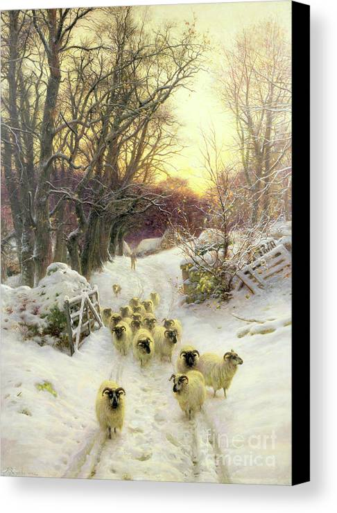 Sunset Canvas Print featuring the painting The Sun Had Closed The Winter's Day by Joseph Farquharson
