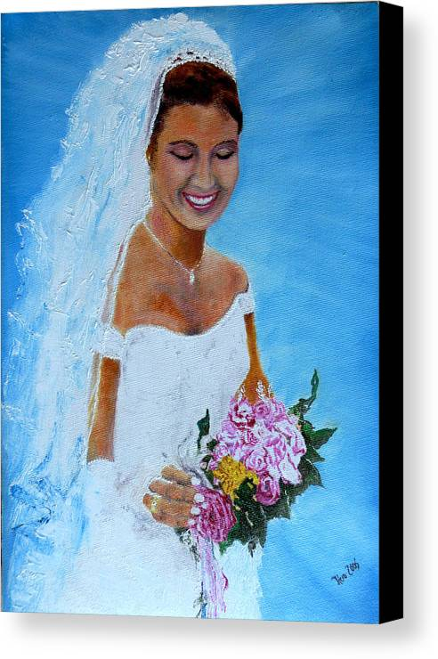 Wedding Canvas Print featuring the painting the wedding day of my daughter Daniela by Helmut Rottler