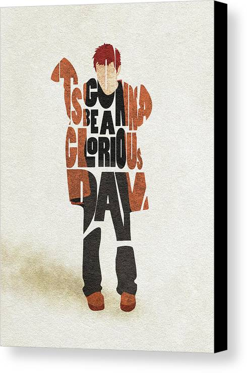 Thom Yorke Canvas Print featuring the digital art Thom Yorke Typography Art by Inspirowl Design