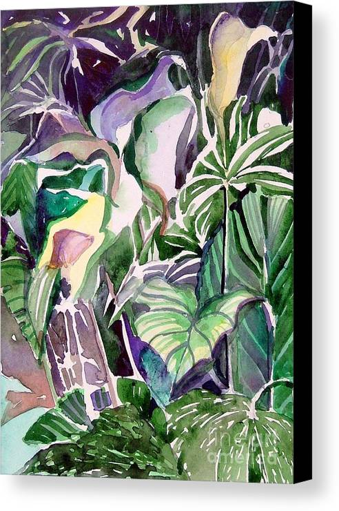 Botanicals Canvas Print featuring the painting Tropic Lights by Mindy Newman
