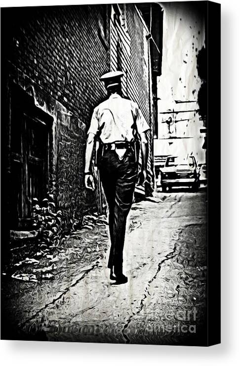 Police Cards Canvas Print featuring the photograph True Grit by John Malone