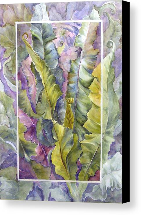Ferns;floral; Canvas Print featuring the painting Turns Of Ferns by Lois Mountz