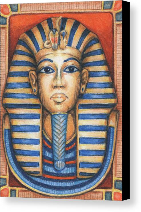 Atc Canvas Print featuring the drawing Tut's Golden Mask by Amy S Turner